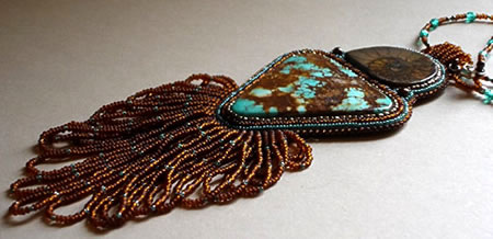 blue turquoise and ammonite fossil necklace by Gail Farcello