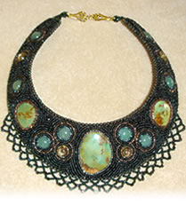 beaded broach necklace with turquoise and other gemstones
