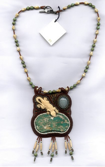 Gail Farcello, green turquoise necklace