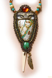 beaded ribbon turquoise necklace by Gail Farcello, wolf eyes pendant